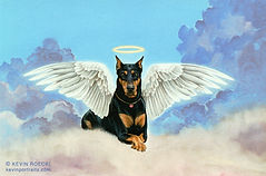 Fine Art portrait of a Doberman angel in clouds