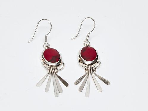 Red Jasper Fanned Dangle Earrings