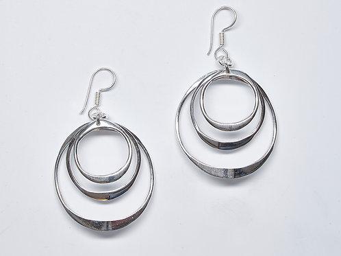 Triple Curved Circle Earrings