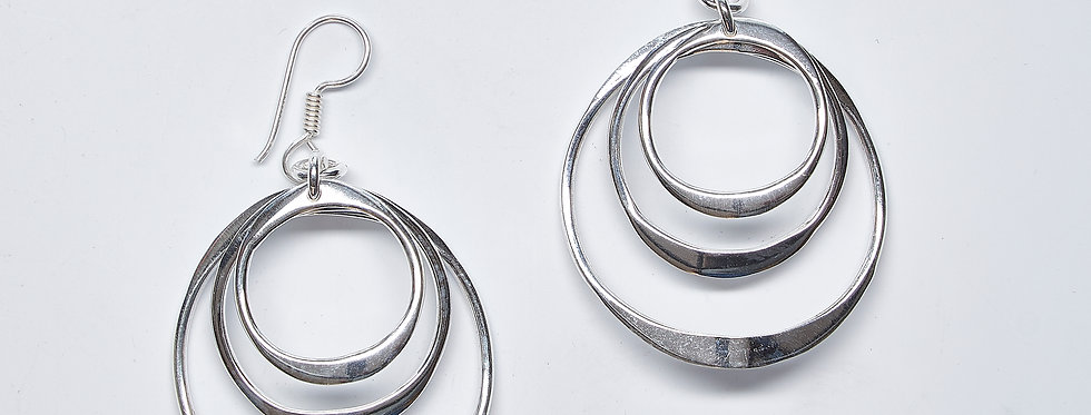 Triple Curved Circle Earrings