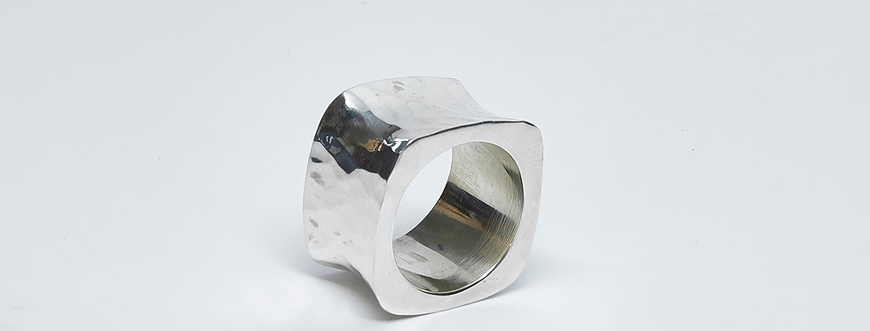 Hammered Square Concave Ring