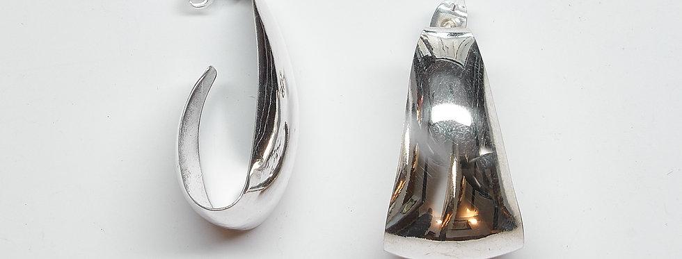 Folded Over Shiny Hoop Earrings
