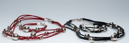 4 Leather Strand Multi Bead Necklace