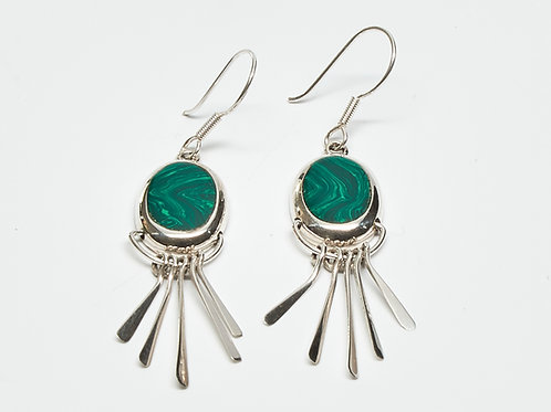Malachite Fanned Dangle Earrings