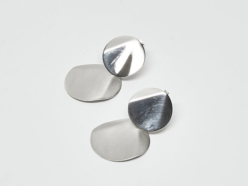 Brushed and Shiny Twin Circle Earrings