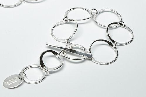 Pounded Circle Chain Link Bracelet