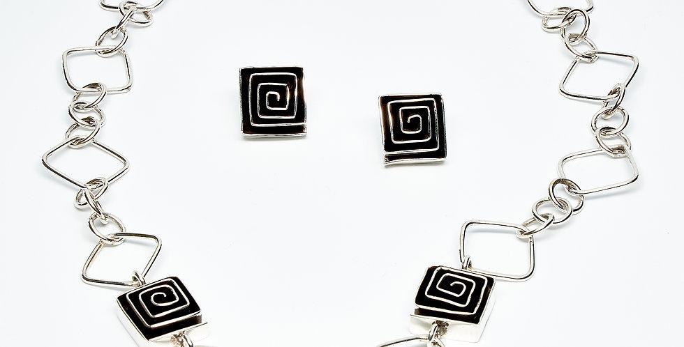 Rectangle Oxidized Maze Necklace