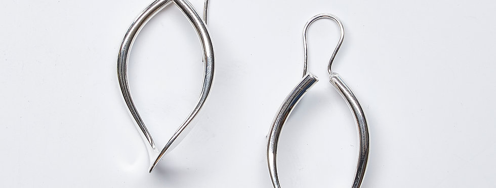 Open Leaf Hoop Earrings