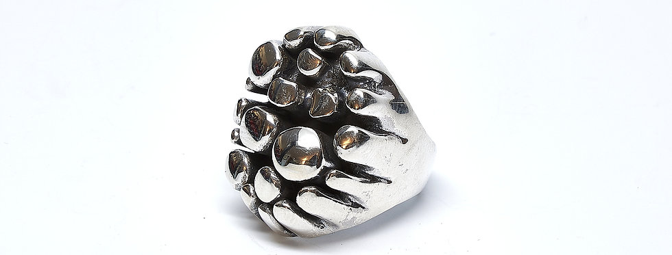 Wax Cast Oxidized Mosaic Ring