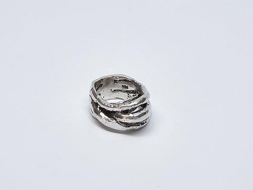 Thick Wax Cast Oxidized Wrap Ring