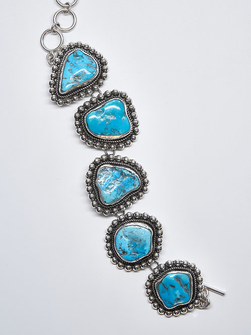 Oxidized Sleeping Beauty Turquoise Link Bracelet