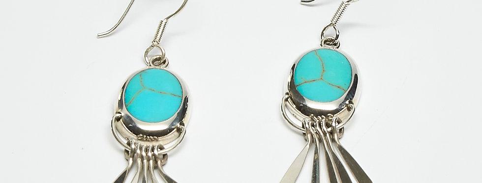 Turquoise Fanned Dangle Earrings