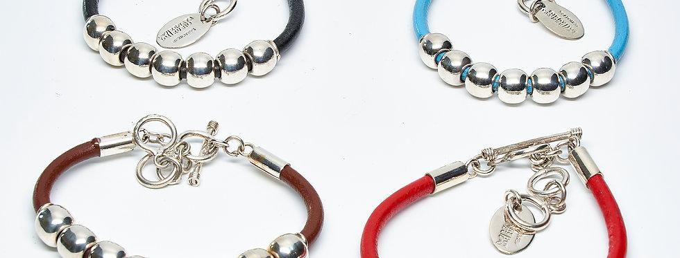 Row of Beads Leather Bracelet