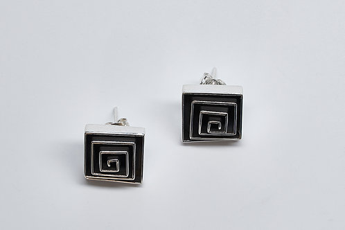Oxidized Square Labyrinth Post Earrings