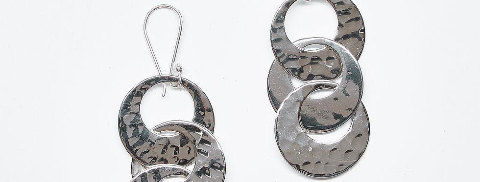 Pounded Triple Interloop Earrings