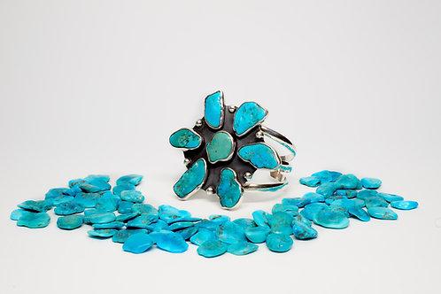 Sleeping Beauty Turquoise Flower Cuff
