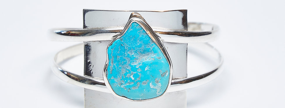 Convex Square Panel Cuff with Sleeping Beauty Turquoise