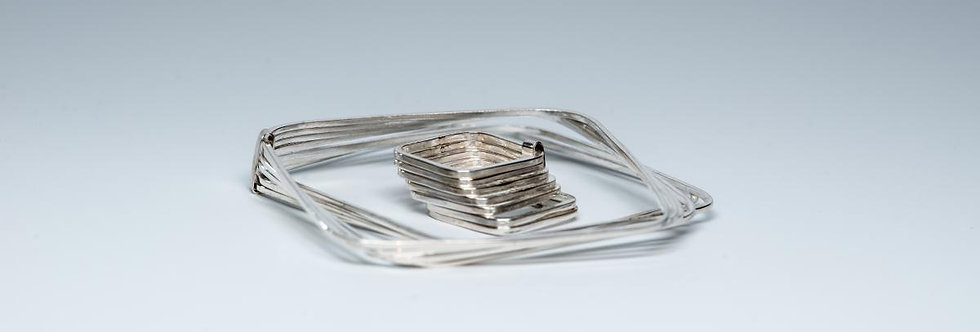 Set of Seven Stacked Square Bangles