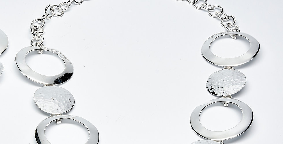 Solid and Open Disk Link Necklace