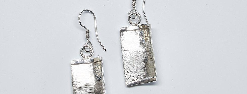 Brushed Rectangle Dangle Earrings