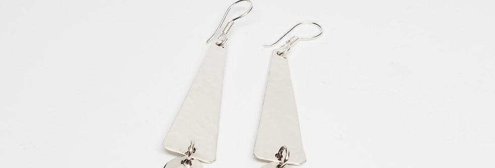 Pounded Triangle & Dot Earrings