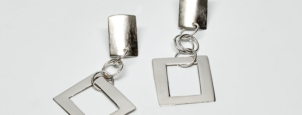 Brushed and Shiny Square Post Earrings