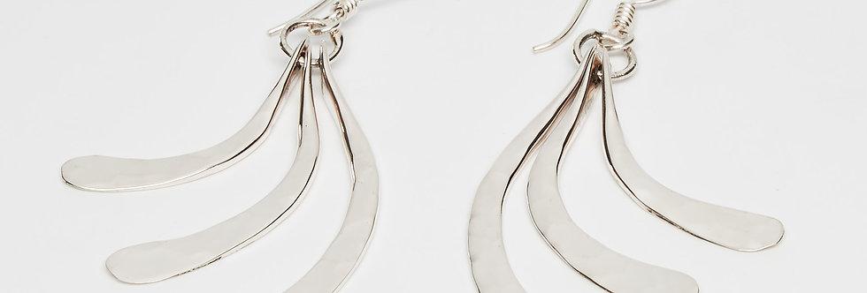Triple Fanned Pounded Earrings