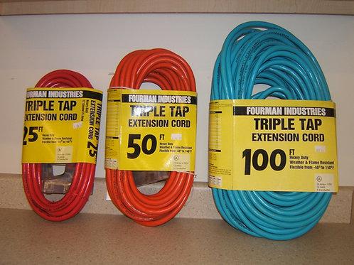 Assorted extension cords 15 Amp, 125 Volt, 12/3 SJTW.
