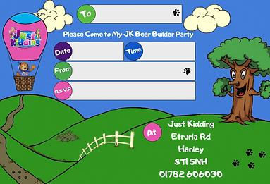 Just Kidding Hanley Bear Party Invites.p