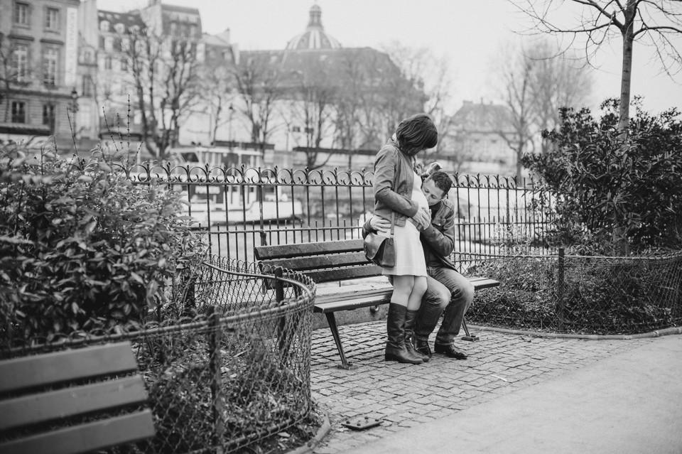 photographe grossesse couple Paris île de la cité square vert galant