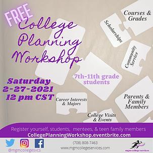 College Planning Workshop - Feb. 27, 202