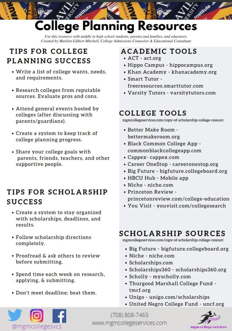 College Planning Resources Handout by MG