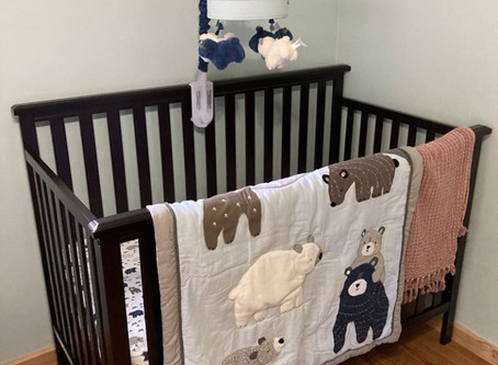 Woodland Nursery Crib - Blue & Grey Bears