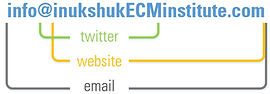 Inukshuk ECM Institute contact graphic (twitter, website, email)
