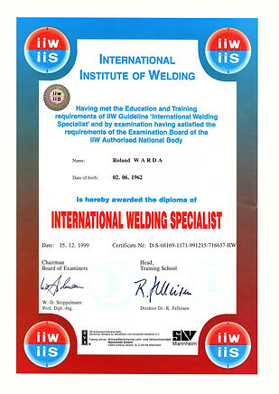 International Welding Specialist Roland Warda