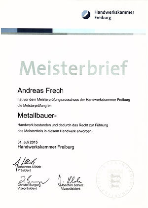 Meisterbrief Andreas Frech