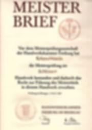 Meisterbrief Roland Warda