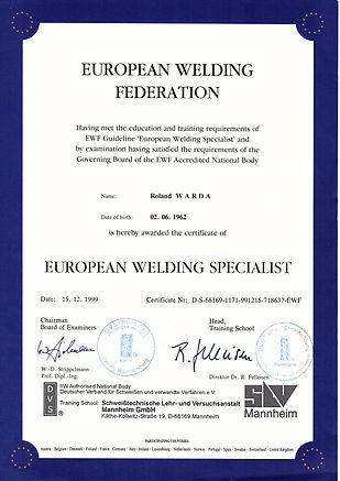 European Welding Specialist Roland Warda