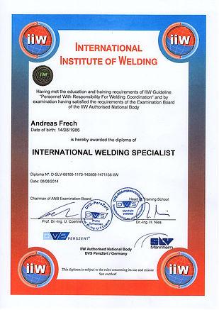 International Welding Specialist Andreas Frech