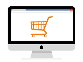 Shopping cart on a computer screen