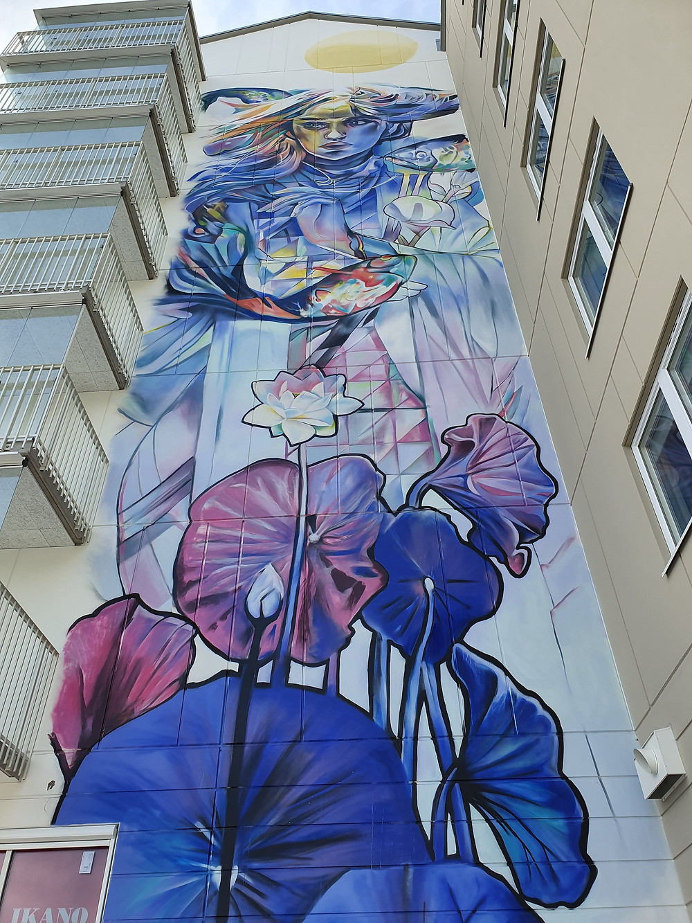 "Close up on ""The Legend of Water Lily"" Mural art by Lily Brik, Spain."