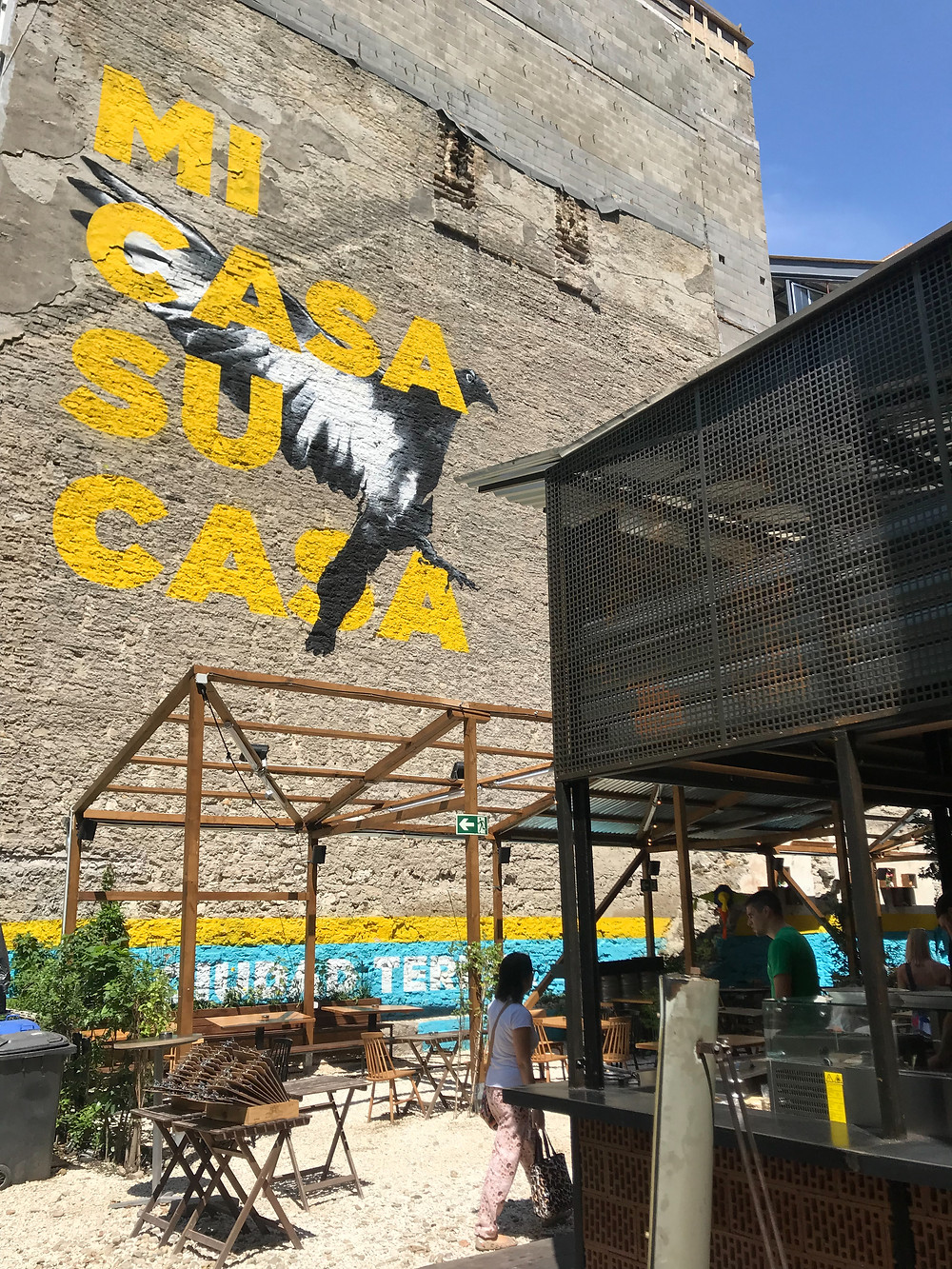 "Street Art is often used for businesses in Budapest. Restaurant Mural: ""Mi Casa Su Casa"" 