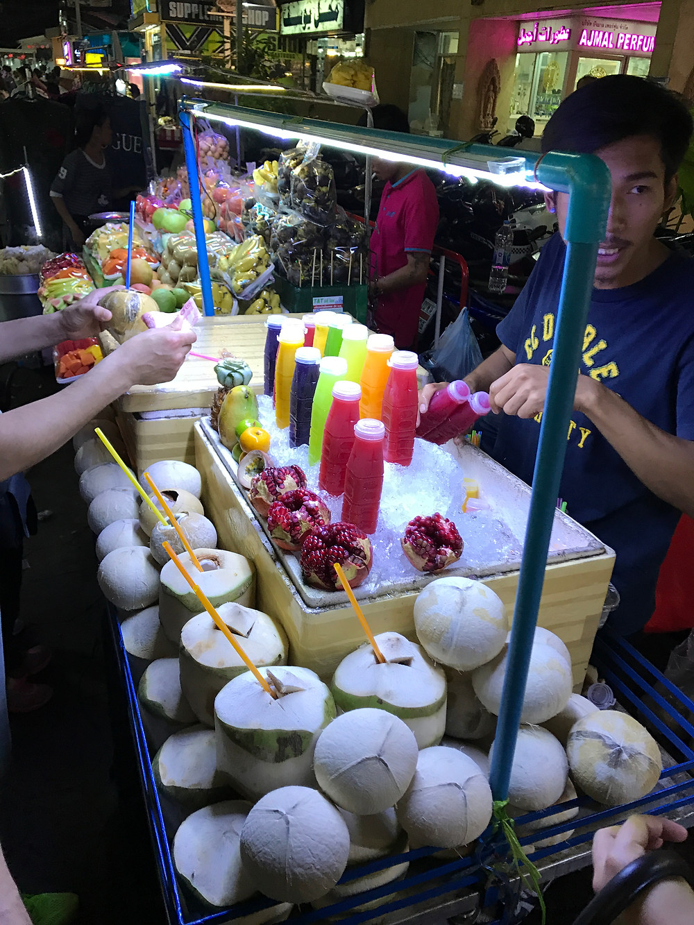A Street Vendor in Nana District, Bangkok sell freshly squeezed and colorful juices of fruits, coconuts and even more fresh fruit. The Streets of Bangkok is full of Street Food stands with delicious food. In this Food Guide you'll find the best Street Food locations in Bangkok.