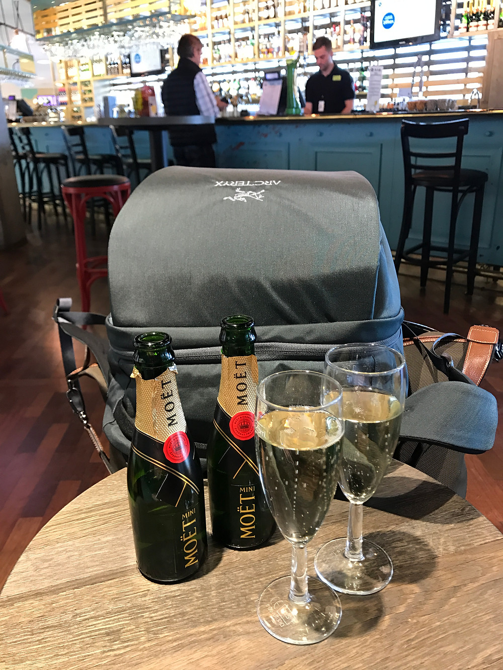 Celebrating Sticks & Spoons first official travels together! With our new Arcteryx Backpack and Champagne of course!
