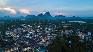 The City Hpa-an in Myanmar from above. Find a Off the Beaten Path Guide to South East Asia here.