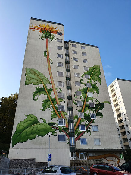 """Mural Art """"Mother Earth"""" by Mona Caron in Sweden"""
