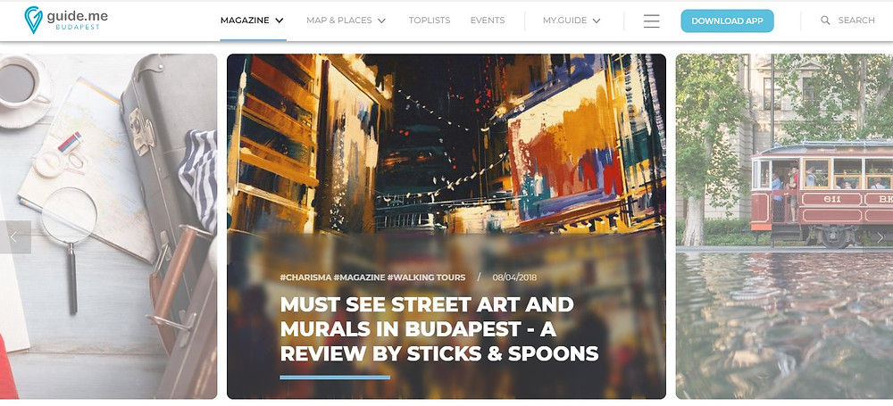 Featured in Guideme online Magazine; Sticks and Spoons review on Streetart and Mural Paintings in Budapest