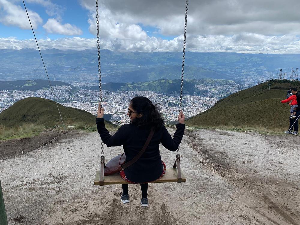 A Swing high above Quito in Ecuador, is daring to try but you'll be rewarded with an amazing view over Quito City.