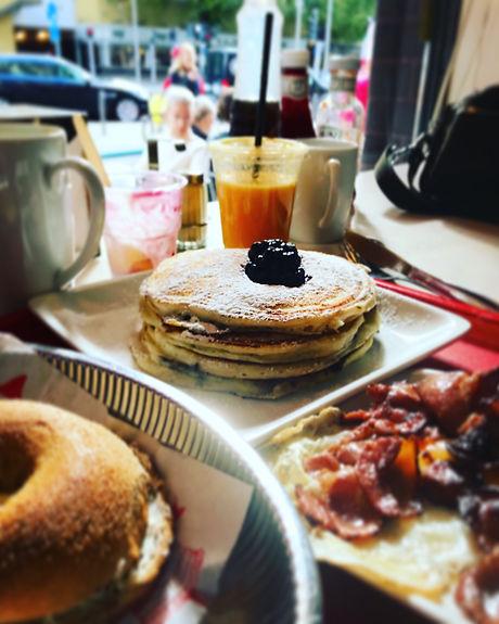 Enjoying an American Breakfast in Gothenburg, Sweden.