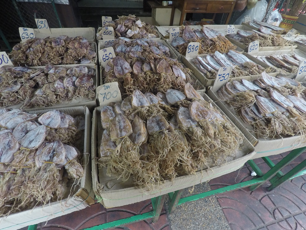 Dried Octopus and Squid in Chinatown, Bangkok.